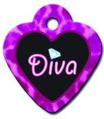 ID Tag - Heart Small Diva Black/Pink