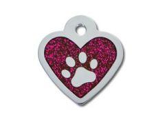 ID Tag - Heart Epoxy Pink Glitter Paw